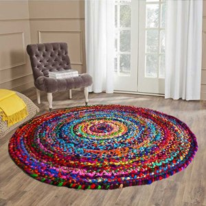 Rag Rug in Colorful Chindi - Braided - Contemporary  Design - Handmade - Reversible - 5 feet Round - Avioni Premium Eco Collection- Best Seller