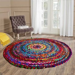 Rag Rug in Colorful Chindi – Braided – Contemporary  Design – Handmade – Reversible – 5 feet Round – Avioni Premium Eco Collection- Best Seller