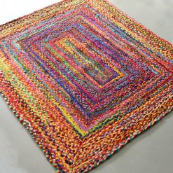 Rag Rugs – Braided Rug in Colorful Cotton Chindi – Contemporary Colorful Design – Reversible – 4 X 6 feet – Avioni Premium Eco Collection – Best Seller