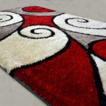 Handloom Rugs Carpets In Beautiful Curves In Red - 3 X 5 Feet by Avioni
