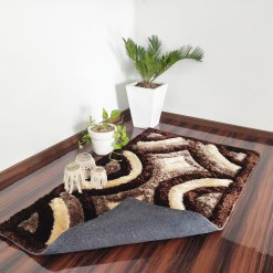 3D Coffee And Brown Beautiful patterned Shaggy Carpet by Avioni