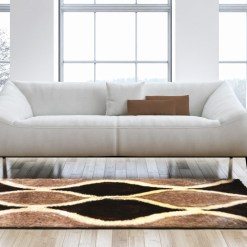 Designer Rugs – Shaggy Carpet Brown with Coffee Curves Design  – Avioni Modern Rugs – Best Seller