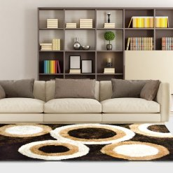 Shag Rug for Living Room – Modern Contemporary Brown Carpet With Multicolor Rounds – Avioni
