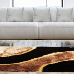Shaggy Carpet Coffee with Beige Curve Design by Avioni