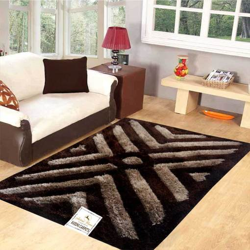 Premium Coffee 3D Waves Shaggy Carpet by Avioni
