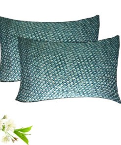 Decorative Pillow Cases - 100% Cotton -  Blue With Cream - Set of 2 - Avioni
