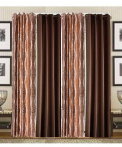 Home Fancy Rich Look Brown Leaves & Coffee Eyelet Curtain Polyester & Plain(Set of 4) by Avioni