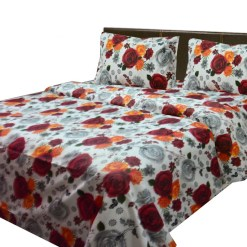 Cotton bedsheets with red floral print
