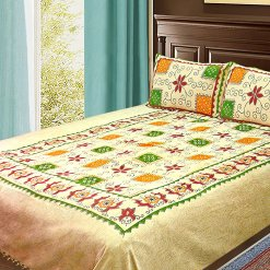 Double Bed Sheet Ethnic Print Beige With Beautiful Multicolor 100% Fine Cotton