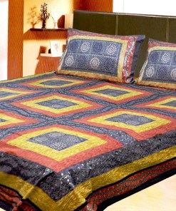 Avioni Jaipuri Gold Double Bedsheet in yellow, Blue and Orange Colour