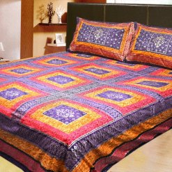 100% Cotton Double Jaipuri Gold Bed sheet Pink and Yellow with Kantha Work