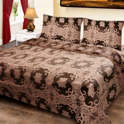 Double Bed Cover Cotton Floral Coffee Color