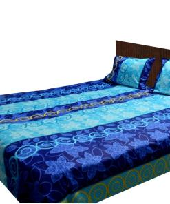 Double Bed Sheet 200 Tc 100% Fine Cotton Blue Design By Avioni