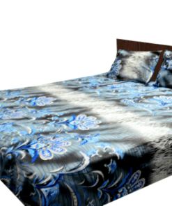 Double Bed Sheet Cotton Grey With Design
