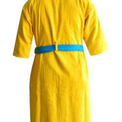 Loomkart Very Fine Export Quality Bath Robes in Yellow With Blue Very Soft Velvet Finish in Avioni Zip-Packing- Standard Size