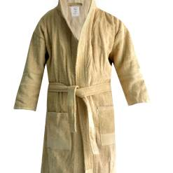 Loomkart Very Fine Export Quality Bath Robes in Beige With Hood in Avioni Zip-Packing- Standard Size