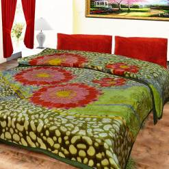 Avioni Mink Double BedBlankets Shiny Green Multicolor Very Soft And Warm