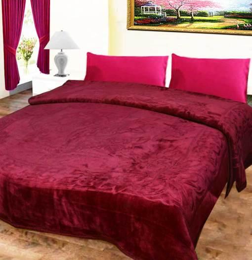 Avioni Mink Double BedBlankets Shiny Redish-Purple Very Soft And Warm