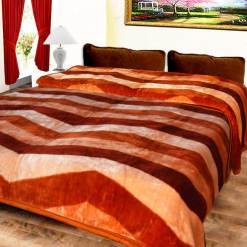 Avioni Mink Double Bed Blankets Multi Stripes Soft And Warm