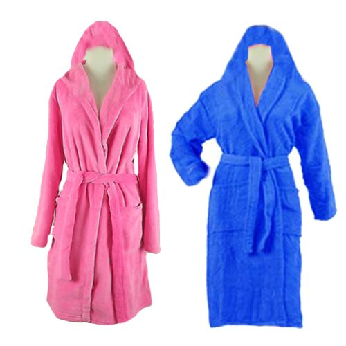 Bathrobes With Hood (set of 2) Fine Export Quality 100% Cotton Pink and Blue Color