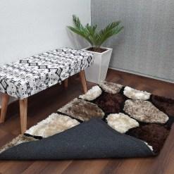 Premium Coffee Multicolor Stones Hand Tufted Shaggy Carpet by Avioni