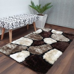 Premium Coffee Multicolor Stones Hand Tufted Shaggy Carpet by Avioni