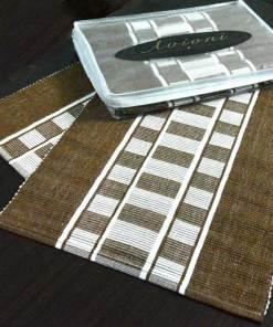 Avioni Premium Cotton Ribbed Table Mats Horizon Collection Export Quality Brown stripes ( Set of 7) …