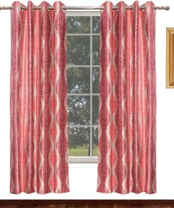Avioni Home Fancy Rich  Pink Leaves  Eyelet Curtain Look Polyester Material