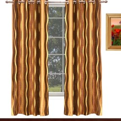 Avioni Home Fancy  Brown With Golden Waves Eyelet Curtain Polyester Material