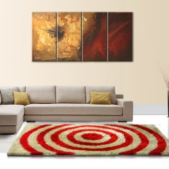 Designer Rugs For Living Room – Shag Rug with Modern Red And Beige Ripple Illusion Design – Contemporary Rugs @ Avioni Factory Price