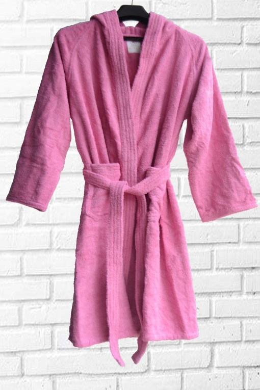 Loomkart Very Fine Export Quality Bath Robes in Pink With Hood in Avioni Zip-Packing Unisex