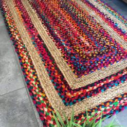 Braided Area Rug – Ecofriendly Recycled Cotton Chindi and Jute – Colorful Contemporary Design – Avioni Premium Eco Collection