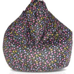 BIGMO Designer Bean Bags XXL Eye Catching Prints Waterproof Material Soft Touch Easy to Wash – Multicolor Dots on Black – Without beans