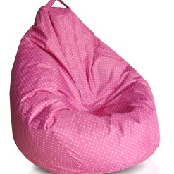 BIGMO Designer Bean Bags XXL Eye Catching Prints Waterproof Material Soft Touch Easy to Wash – Dots on Pink – With beans