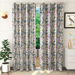 Avioni Premium Floral Gray And Purple Polyester Window And Door Curtains Heavy Material (Set of 2)