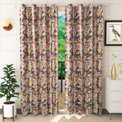 Avioni Premium Floral Pink & Brown Polyester Window And Door Curtains Heavy Material (Set of 2)