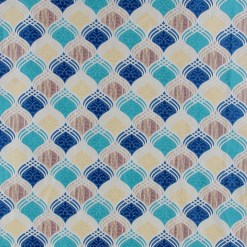 Avioni Contemporary Polyester Abstract Blue Window And Door Curtains Heavy Material (Set of 2)