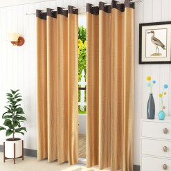 Avioni Stylish Long Beige Punched Window And Door Curtains Heavy Material (Set of 2)