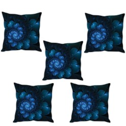 3D Cushion Covers Blue Roses Soft Feel – Best Price 16 X 16 Inch (set of 5) by Avioni