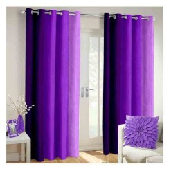 Avioni Beautiful Long Crush Stripes Purple Shades Window And Door Curtains Heavy Material (Set of 2)