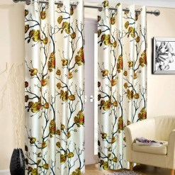 Avioni Beautiful Long Crush Olive Flowers Bunch Window And Door Curtains Heavy Material (Set of 2)