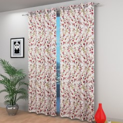 Avioni Beautiful Long Crush Pink Leaves & Flower Window And Door Curtains Heavy Material (Set of 2)