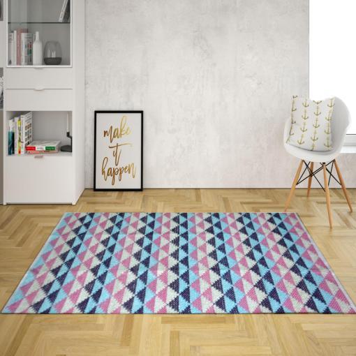 Avioni Lux Handloom Artistically Weaved Cotton Durries-Blue-Pink Diamond- 92×152 (3×5 Feet)