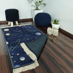 Avioni Carpets for Kids Room Silk- Kids Collection Rocket in Galaxy -120 cm X 180 cm (4×6 Feet)