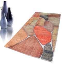 Avioni Faux Silk Carpet – 3D Printed Neo Collection Stones -92×152 cm (3×5 Feet)