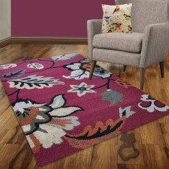 Avioni Wool Carpet Loop Piled Hand Tufted Floral Purple And Black – 92×152 cms ( 3×5 Feet)