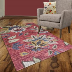 Avioni Wool Carpet Loop Piled Hand Tufted Floral Orange Tie-Die – 92×152 cms ( 3×5 Feet)