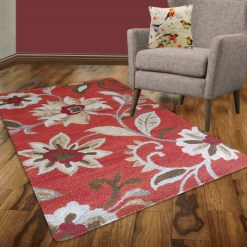 Avioni Wool Carpet Loop Piled Hand Tufted Floral Orange – 92×152 cms ( 3×5 Feet)
