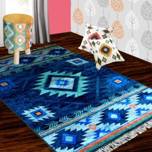 Silk Carpet Ethnic TribalDesign Premium Living Room Rug Blue -Avioni