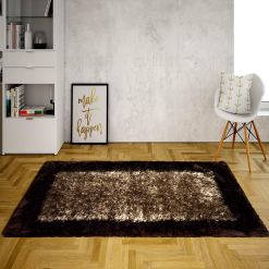 Fur Rug For Living Room|Brown With Coffee Border|By Avioni| 92×152 cm|3×5 Feet